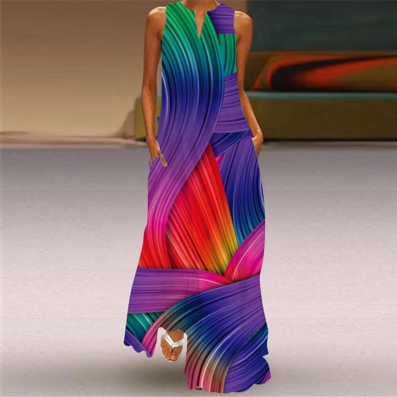 MOVOKAKA 2021 Fashion Summer Dress Women Robe Elegant Casual Plus Size Long Dresses Woman Sleeveless
