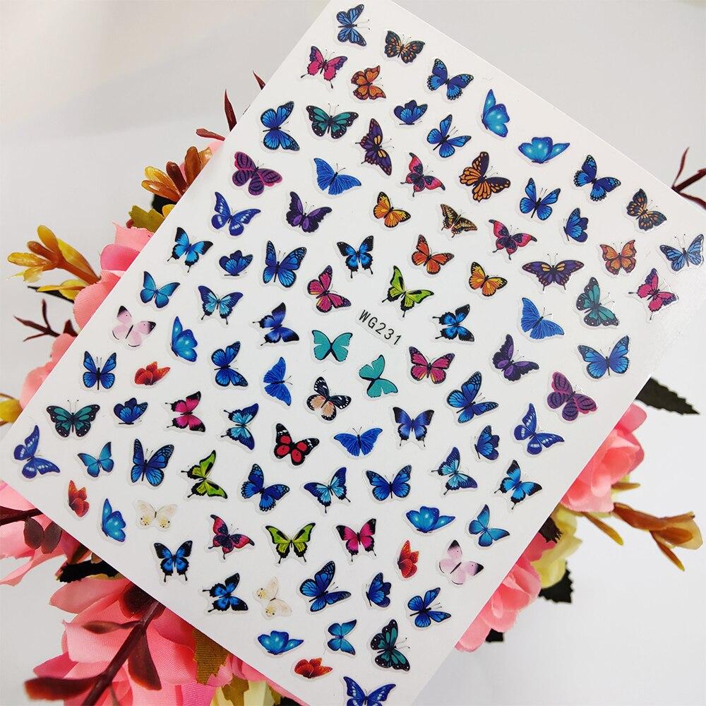 Azul mariposa rojo 3D adhesivos para uñas de arte adhesivo para uña...