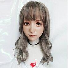 (Yuan)Female Sweet Girl Resin Half Head Kigurumi BJD Eyes Crossdress Cosplay Japanese Anime Role Lolita Mask Skin-Like Makeup