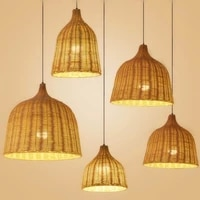 japanese rattan pendant light handmade bamboo hanging light for dining room living room decoration home decor led light fixtures