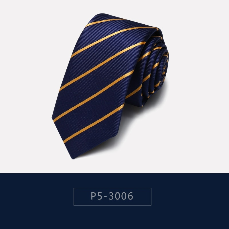 2020 Brand New Fashion High Quality Mens 5CM Slim Gold Stripe Blue Business Necktie Formal Suit Neck Tie for Men with Gift Box