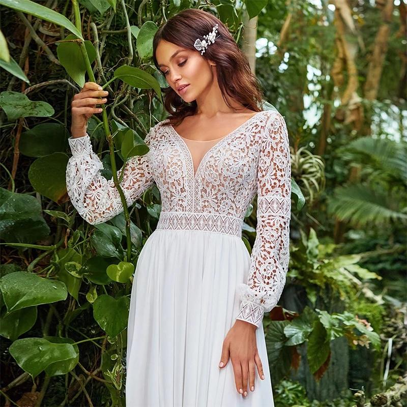 ChuYu 2021 Graceful Long A-line Wedding Dress V-neckline Chiffon Puff Sleeve Vestido De Novia Lace Appliques Formal Occasion