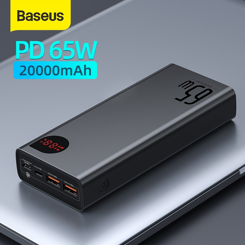 Baseus 22.5W/ 65W Power Bank 20000mAh Portable Fast Charging Powerbank Type C PD Qucik Charge Poverb