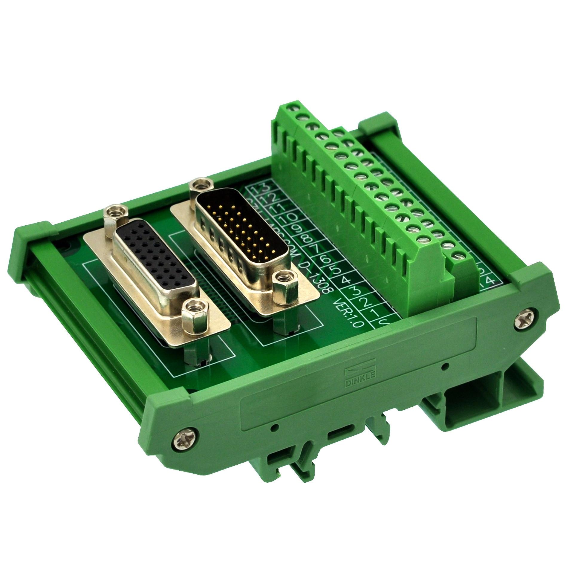 Módulo de interfaz macho/hembra DSUB DB26HD de montaje en carril DIN CZH-LABS, placa de adaptación D-SUB.