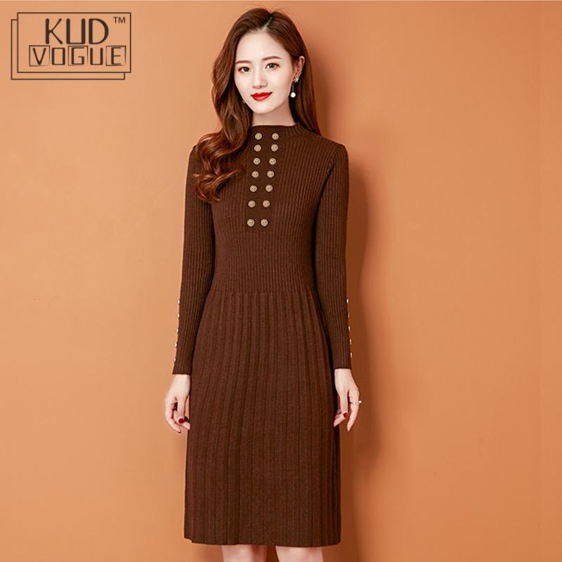 Vestidos de punto de invierno para mujer, de otoño, ajustados, con Cuello medio alto y doble botonadura, vestido elegante Vintage marfil grueso