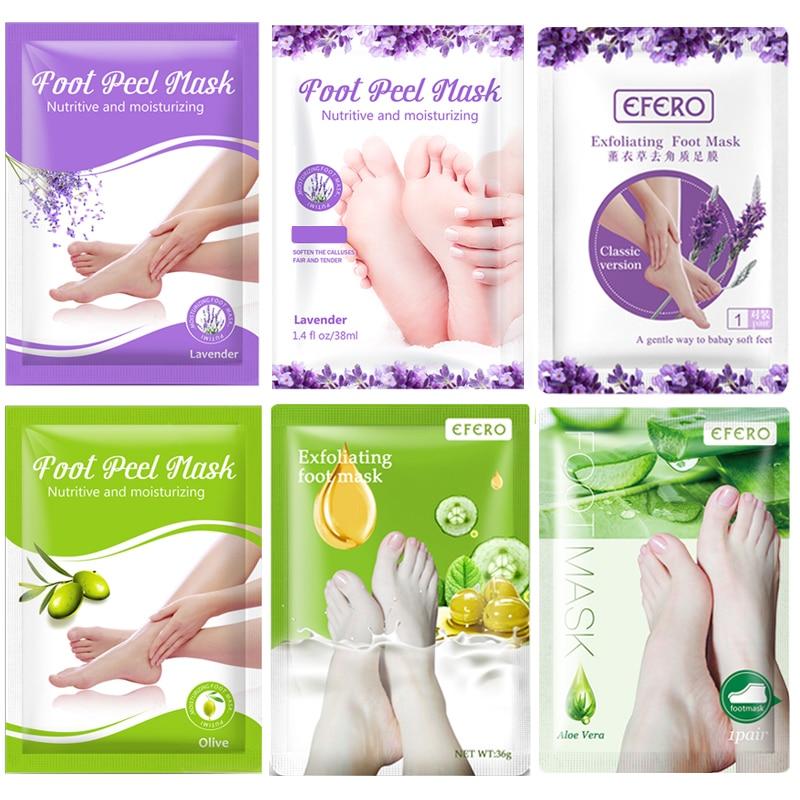 6 par/set lavanda/Aloe exfoliante máscara de pie para piernas y pies Peeling máscara de pie parche piel muerta blanqueamiento pies máscara Calcetines
