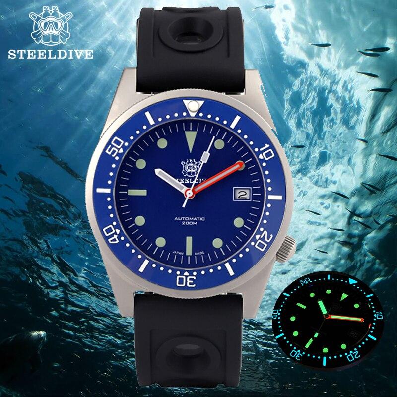 STEELDIVE-NH35 ساعة ميكانيكية للرجال ، أوتوماتيكية ، مينا زرقاء ، مقاومة للماء ، 200 متر ، غواص