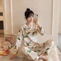pajamas for women silk shorts pajama summer cartoon v neck ladies sleepwear home service 2 piece set pajamas for women 2021