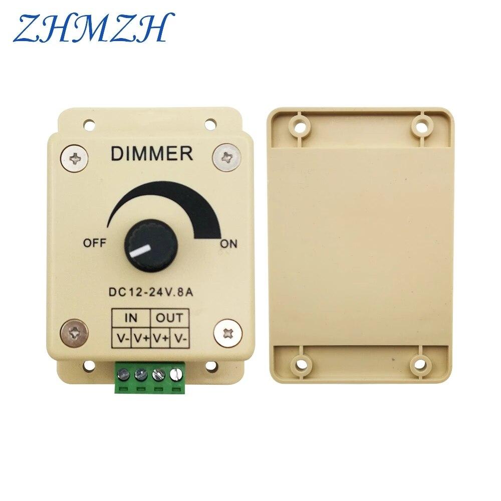 zhmzh led dimmer dedicado dc 12v 24v 8a unica cor led controlador 96w ajustavel brilho