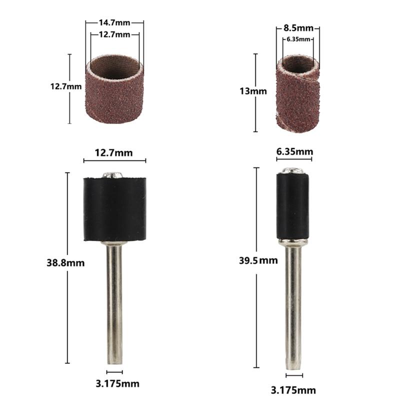 Lihvimisrummide komplekt # 80 # 100 # 120 koos 6,35 mm 12,7 mm - Abrasiivtööriistad - Foto 2
