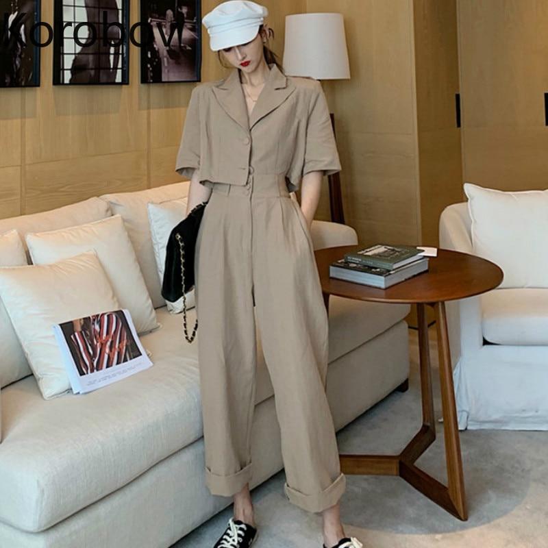Korobov Summer New Short Blazer and Pants Women 2 Piece Set Korean Women Joggers Suit Sets Safria Style Female Outfits 78802