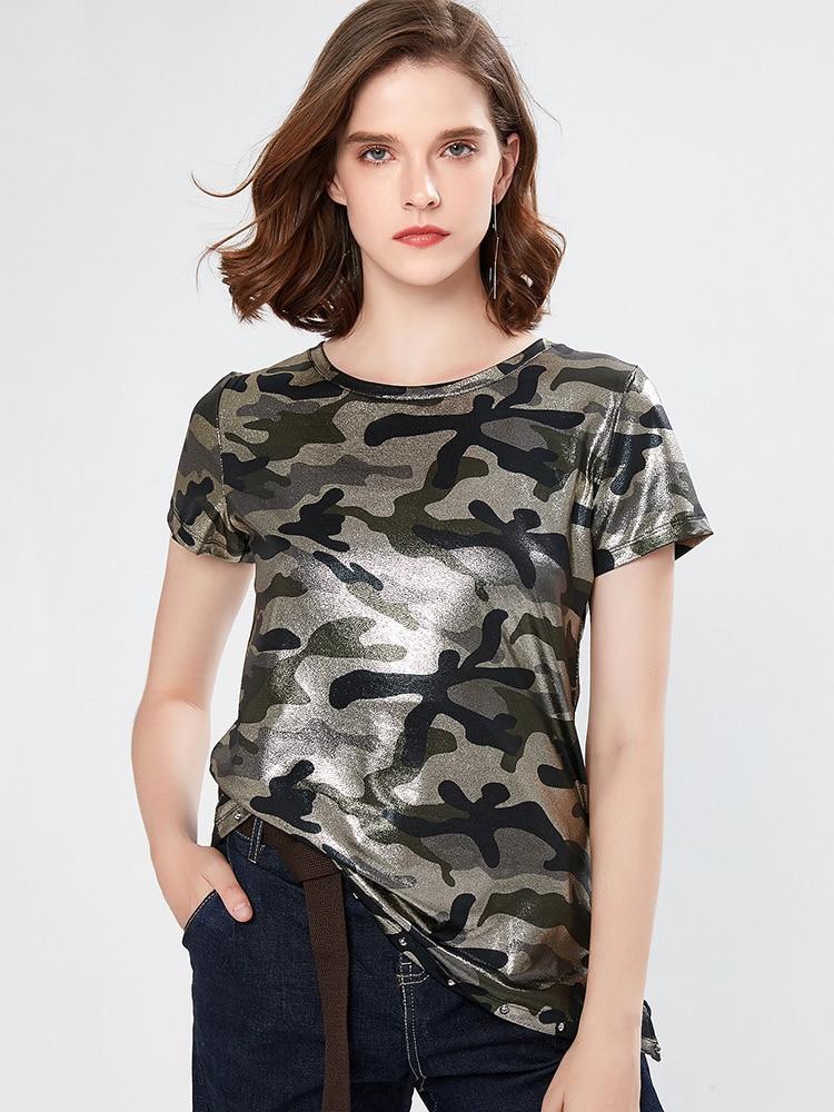 Friends korean Summer t shirts women short sleeve camouflage vintage O-Neck irregular streetwear clothes