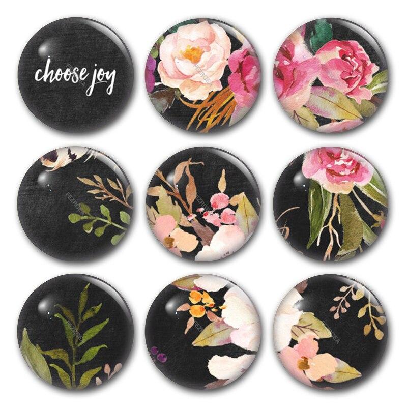 Rose Flower glass cabochon,choose joy love wish girlboss Round photo glass cabochon demo flat back Making findings