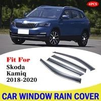 car window deflectors wind deflector sun guard rain vent visor cover trim car accessories for skoda kamiq car window rain cover