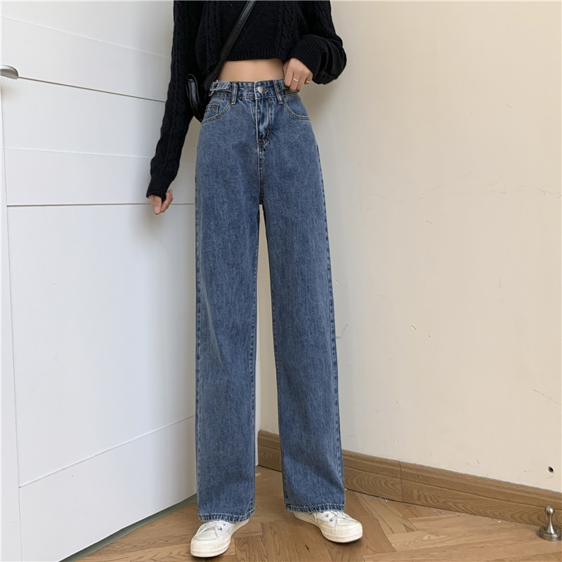 Small 145cm High Waist Wide Leg Jeans for Women 150 Short Tall Straight Drooping Mop Pants Spring XS