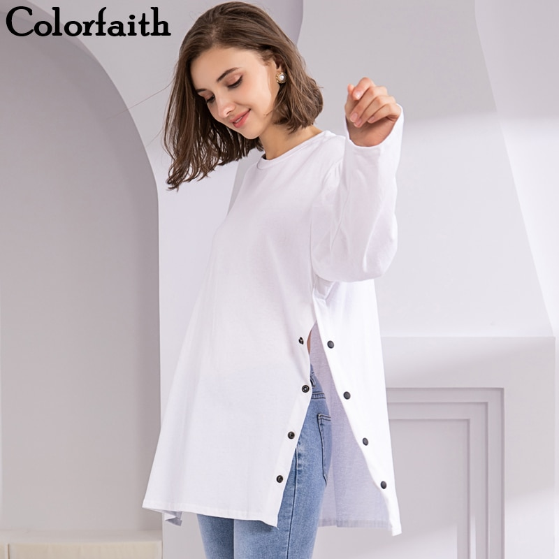 Colorfaith Novo 2019 Camisetas Primavera Outono Branco Preto Botão Sólidos Dividir Manga Comprida Casual Estilo Coreano Longa Tops Tees T1576