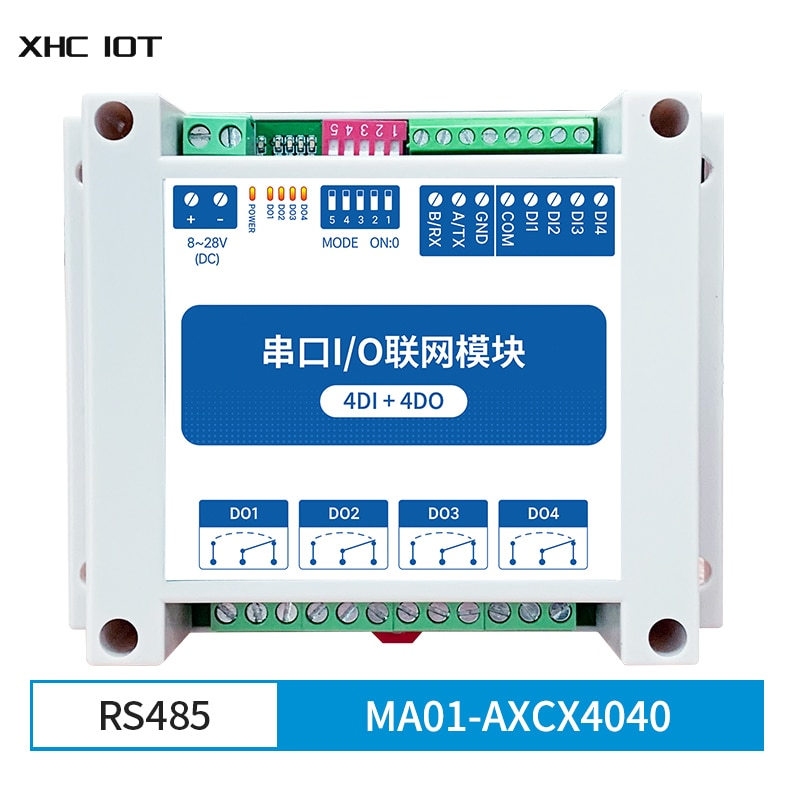4DI + 4DO RS485  Modbus RTU Industrial Grade Serial Port I/O MA01-AXCX4040 XHCIOT Networking Module Data Acquisition Monitoring 8 way analog data acquisition input 6 relay output 220vac modbus rtu module serial port 485