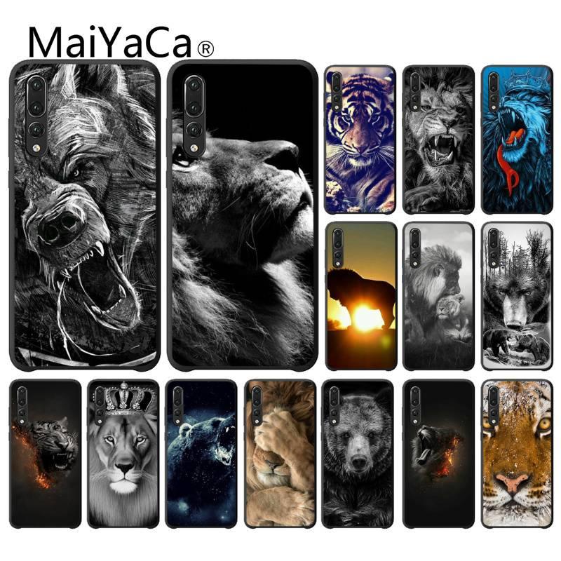 MaiYaCa, carcasa de TPU negra con estampado de Tigre y León del oso ruso para Huawei NOVA 3I 3E 4 4E 5 5I PRO Y5 PRIME Y6 PEIME 2018 Y5 2019