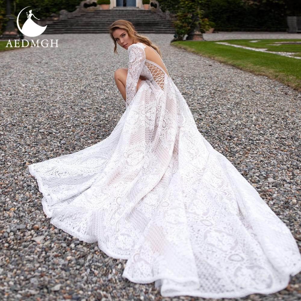 Promo Aedmgh A-Line Boho Wedding Dresses 2021 O-Neck Long Sleeve Vestido De Novia Lace Applique Backless Illusion Split Robe De Marige