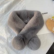 Real Fur 100% Rex Rabbit Fur Scarf Winter Fashion Warm Bib Plush Fur Scarf
