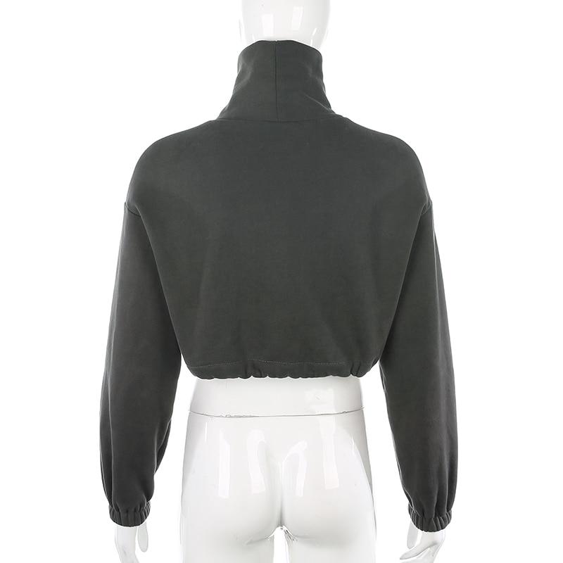 Rockmore Autumn Turtleneck Cropped Sweatshirts Casual Streetwear Loose Pullovers Women Harajuku Long Sleeve Top Shirts Korean