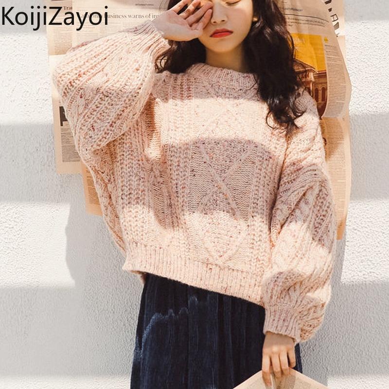 Женский зимний Повседневный свободный свитер Koijizayoi, теплая Милая верхняя одежда для девочек, пуловеры, модная женская верхняя одежда, джемп...
