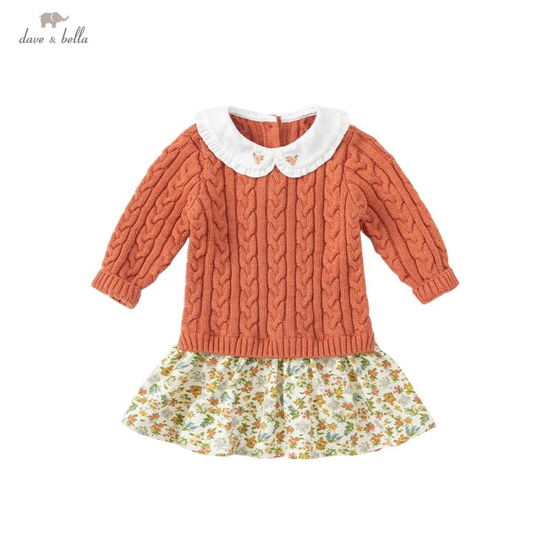 DBZ18510 ديف بيلا الخريف طفلة لطيف الأزهار طباعة سترة فستان أطفال موضة فستان الحفلات الاطفال الرضع لوليتا الملابس