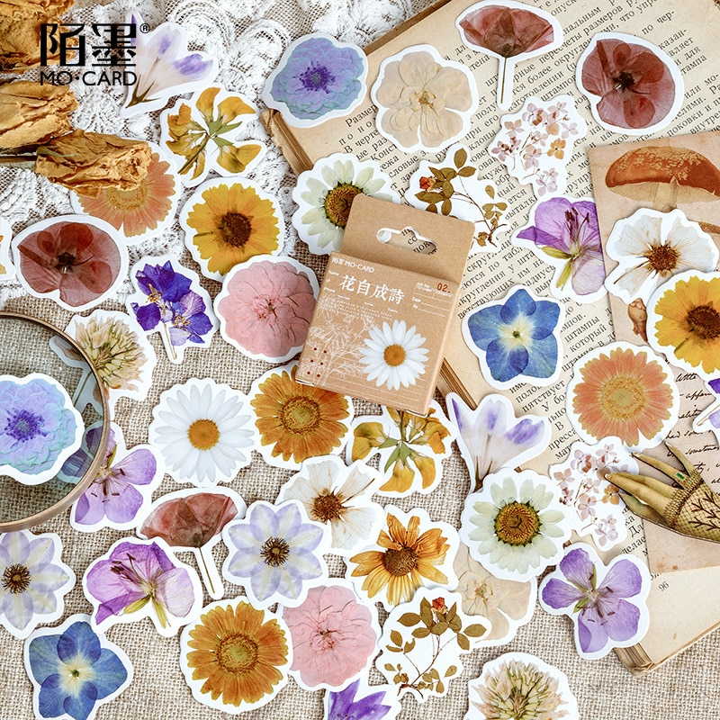46pcs/set Autumn Flower Sticker Diy Scrapbooking Diary Planner Decoration Sticker Album