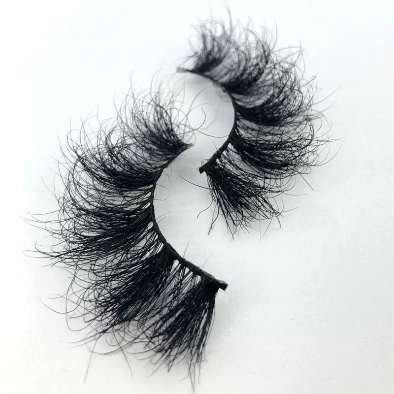 25mm 100% handmade natural thick Eye lashes wispy makeup extention tools 3D mink hair volume soft Fl