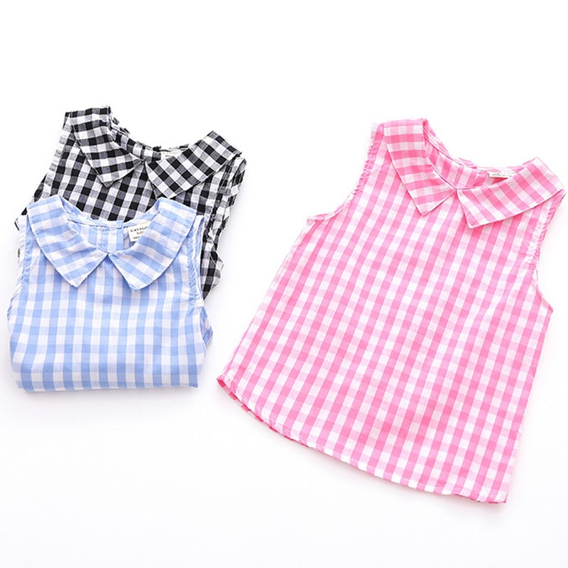 Sleeveless Summer Girls Blouses Vest Tops Cotton Casual Baby Girls Solid Shirts for Children Kids Clothing Shirts Dress