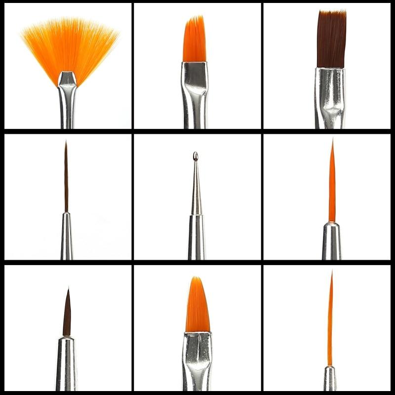 ROSALIND Nail Brushes for Manicure Design Tool Set 3D UV Lamp Gel Acrylic Brushes Liner Pen Nail Art Brush For Nails Diy Design