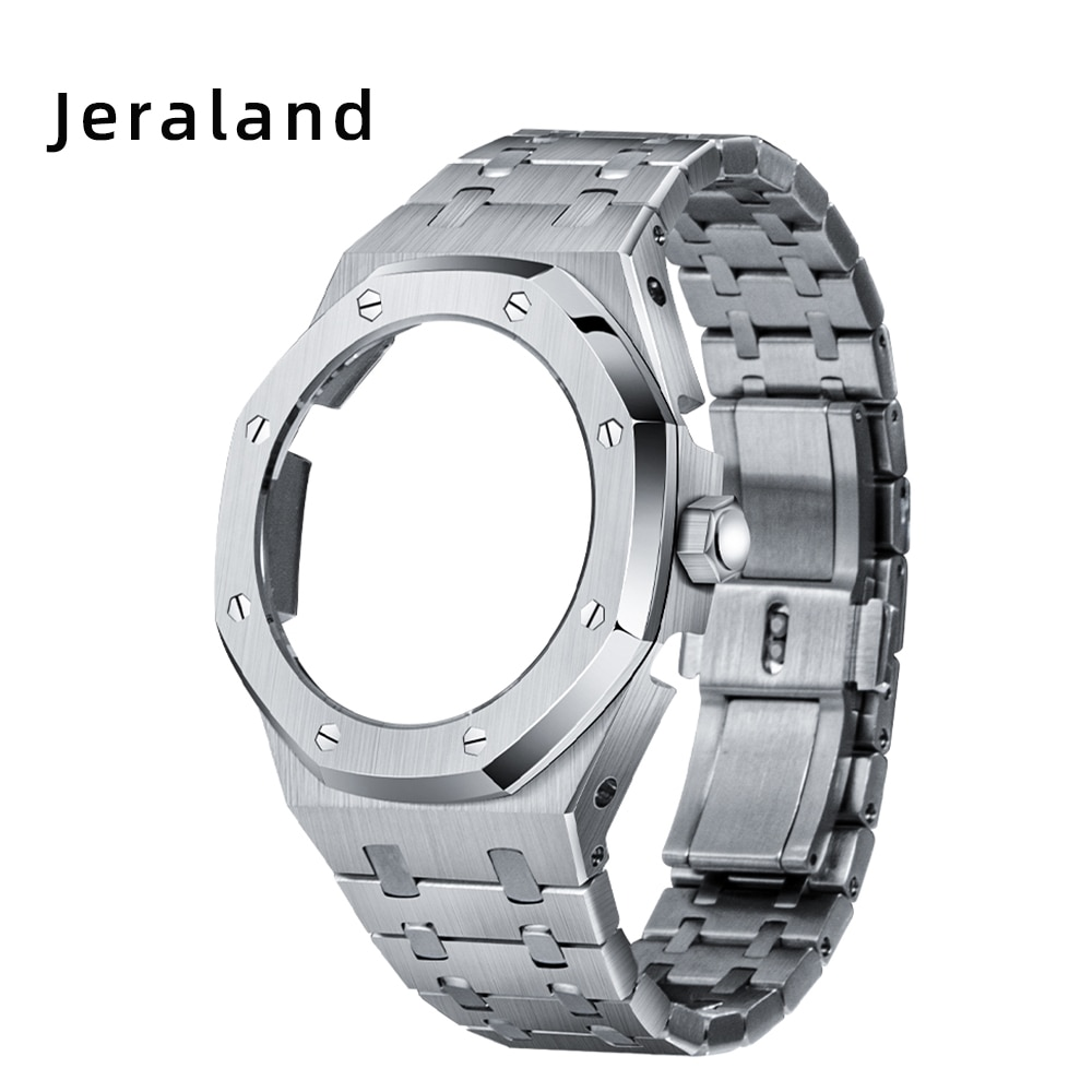 4th GA2100/2110 Generation Watchbands Octagonal Full  Metal Case Band with Crown for Jeraland Modification 316 Stainless Steel