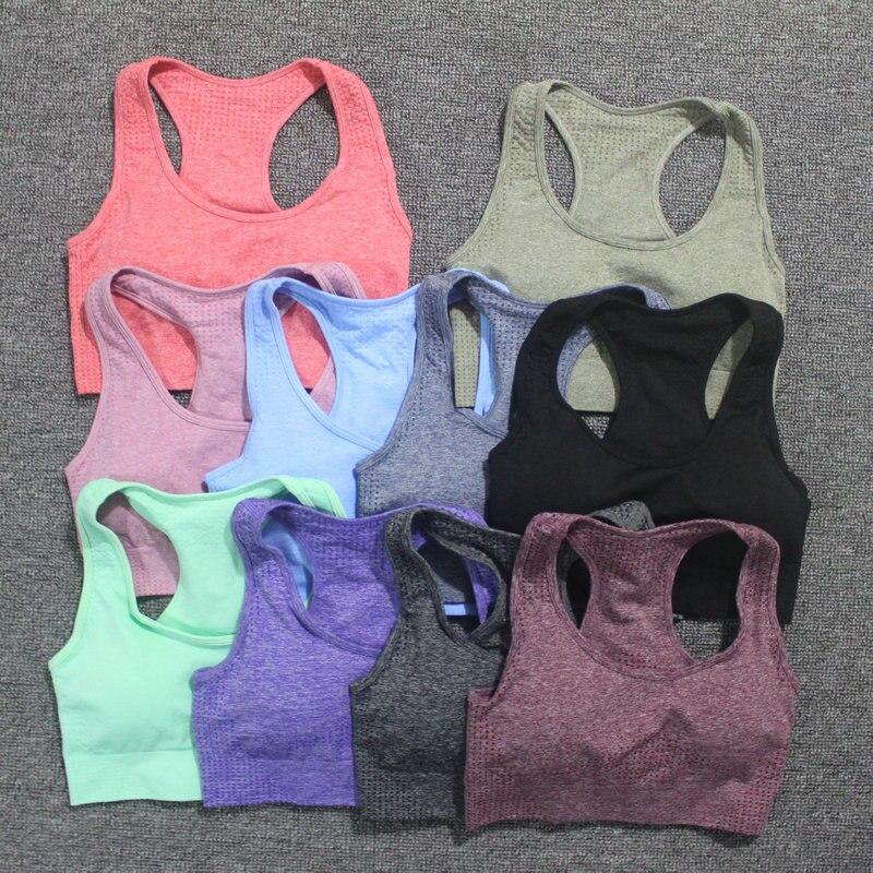 Vital sostén sin costuras para yoga mujeres Fitness recortado superior acolchado Push Up Sujetador deportivo sujetador de gimnasia Femme entrenamiento Racerback ropa activa