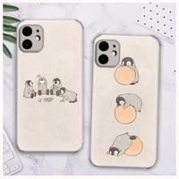 penguin interesting antarctica phone case lambskin leather for iphone 12 11 8 7 6 xr x xs plus mini plus pro max shockproof