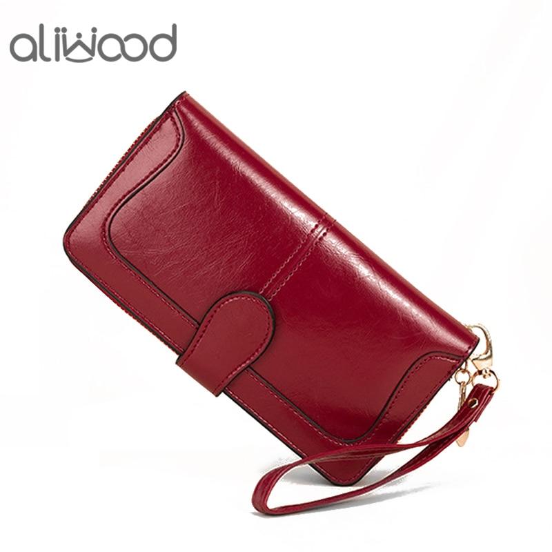 Aliwood marca das mulheres longas carteiras de embreagem couro feminino zíper ferrolho moeda bolsa cinta dinheiro saco para iphone carteira titular do cartão