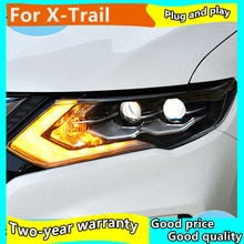 2 sztuk reflektory led dla Nissan x-trail 2017-2019 LED reflektor LED DRL + dynamiczny kierunkowskaz dla x-trail led reflektor
