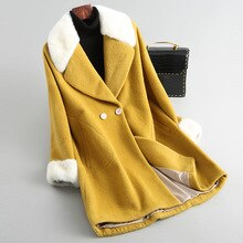 2020 automne et hiver laine manteau vison fourrure col alpaga laine/fibre mode couleur unie revers mi-longueur veste
