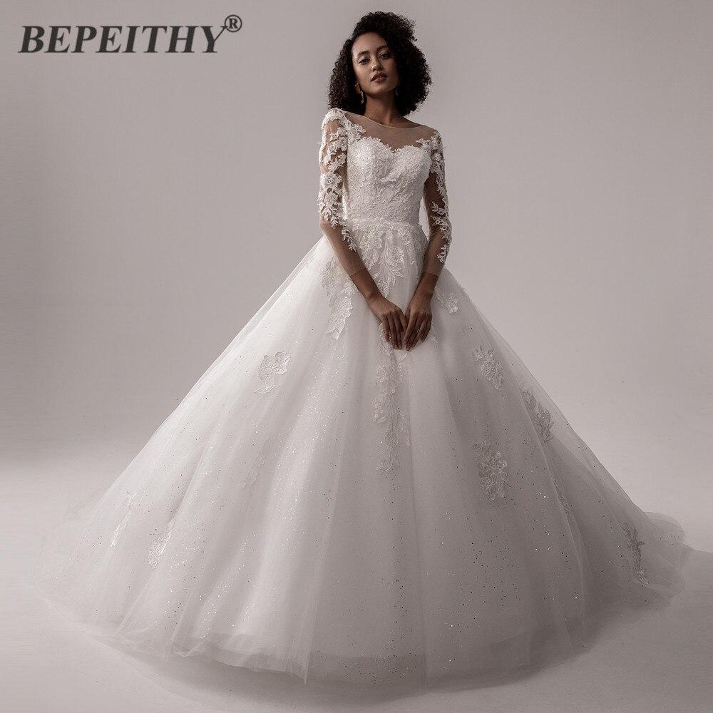 BEPEITHY-vestido De Novia De encaje para mujer, prenda De vestir De manga...