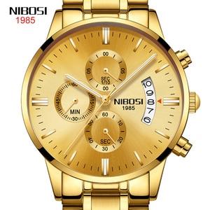 Fashion Stainless Steel Watches Men 2021 NIBOSI Waterproof Chronograph Quartz Watch Men Top Brand Luxury Gold Wristwatch For Man