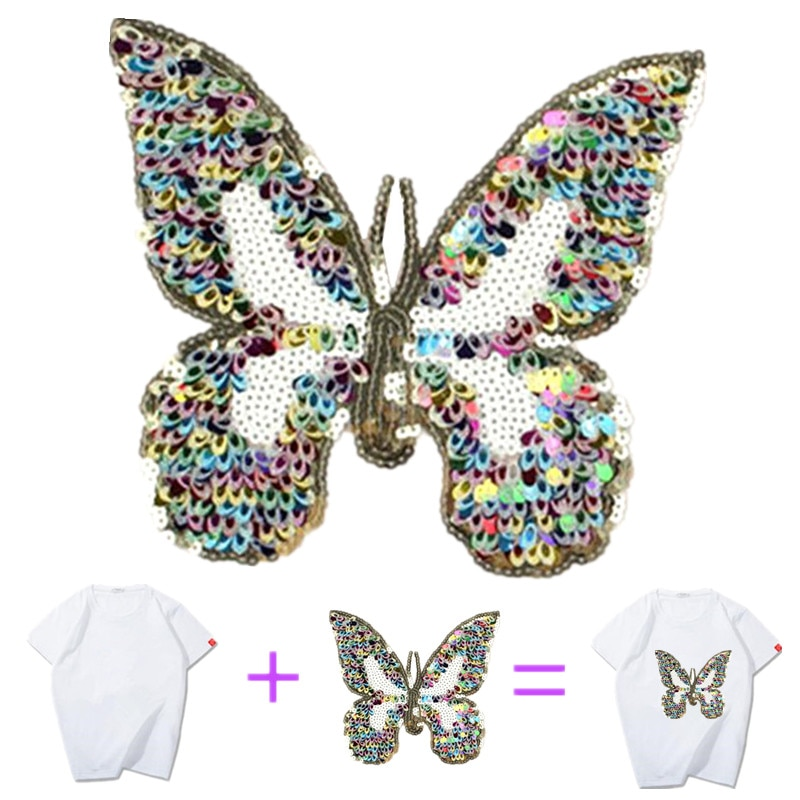 bulk buys bi635 48 butterfly ruffle accent hair twister large Name Logo Patch Butterfly Patches Bulk for Clothing Sequin Accessories Diy Stickers for Clothes Large Badge Free Shipping