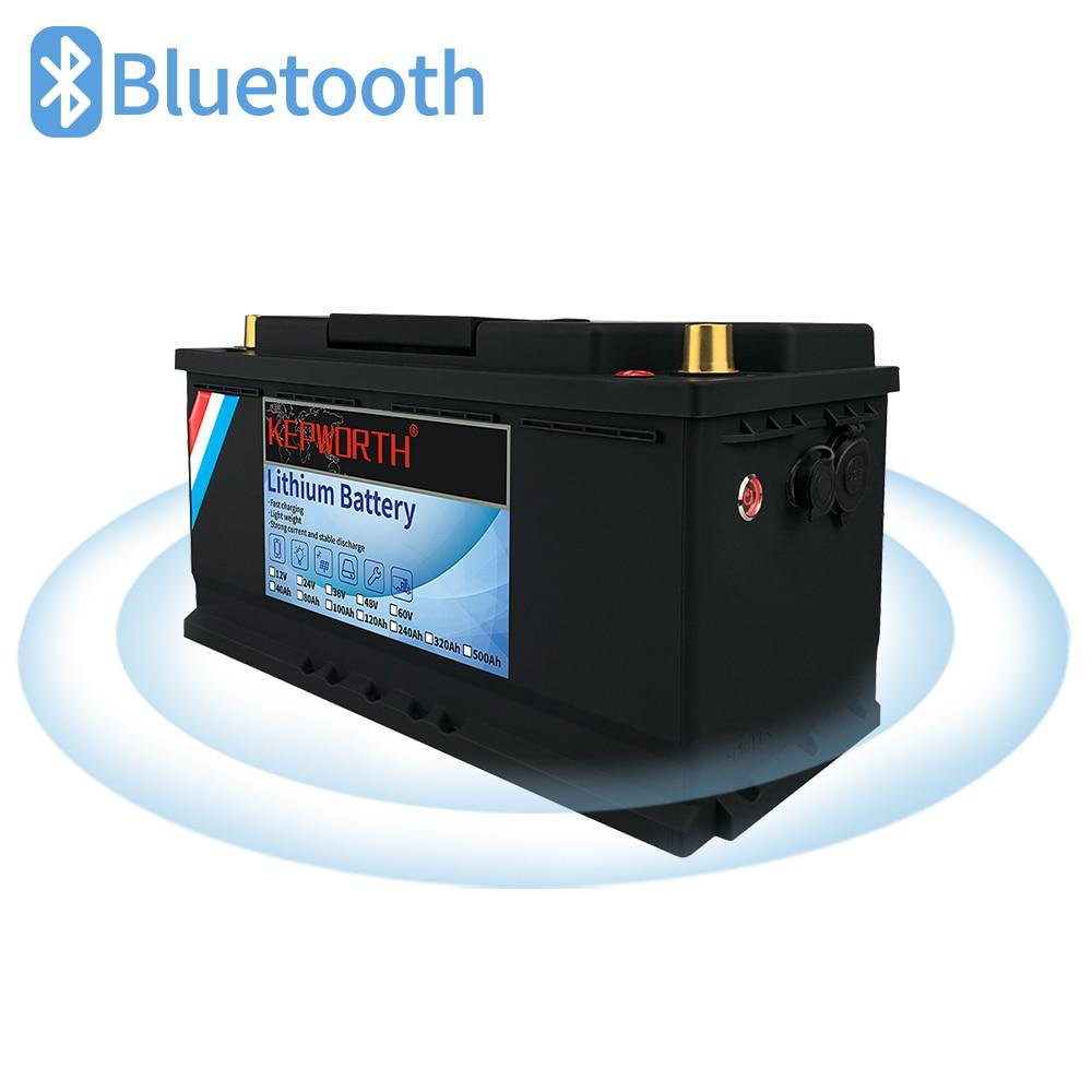 بطارية تخزين LiFePO4 ، 12 فولت ، 24 فولت ، 100 أمبير ، 120 أمبير ، مع BMS مدمج ، مع بلوتوث ، ليثيوم ، 3000 دورة ، لعربة الجولف RV
