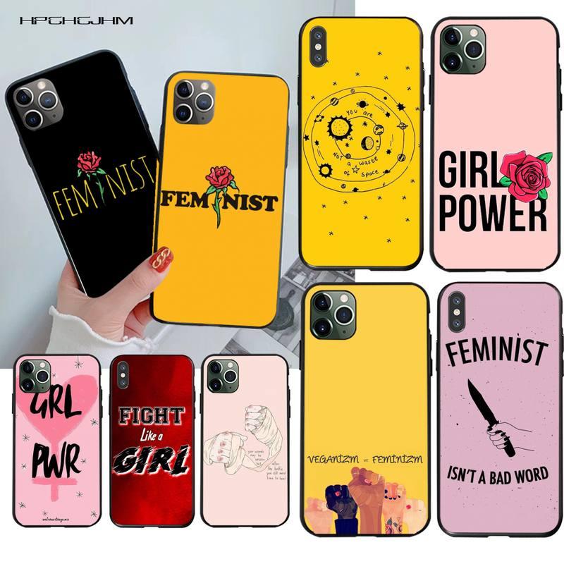 La estética mínimo chica poder feminista Bling lindo teléfono caso para iPhone 11 pro XS MAX 8 7 6 6S Plus X 5S SE 2020 XR caso