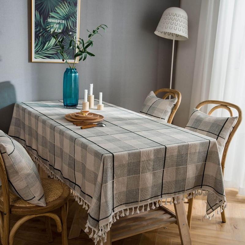 Mantel rectangular a cuadros con borla decorativo de lino para comedor a prueba de polvo, Mantel de Mesa impermeable