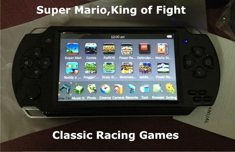 Suporte real 8 gb do jogador do jogo do jogador mp5 da tela mp4 do console de jogo handheld de 4.3 polegadas para o jogo do ps, câmera, vídeo, e-book