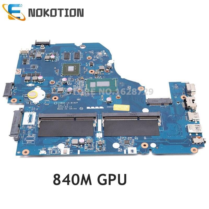 NOKOTION NBV9P11001 NBMLB11002 لشركة أيسر أسباير E1-572G اللوحة المحمول Z5WAH LA-B162P I3 وحدة المعالجة المركزية 840M GPU اختبار كامل
