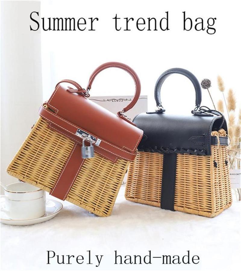 Women's handbag luxury rattan Messenger bag PU handmade rattan weaving 2019 summer beach bags for women sac main