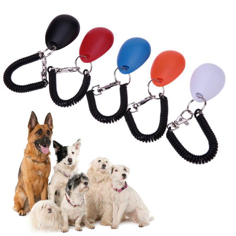 1 ud. Entrenador de mascotas entrenamiento, perro Clicker ajustable Cadena de llaves sonoras y correa de muñeca Doggy tren Click suministros de mascota doméstica