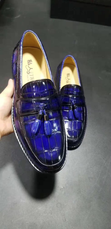 الفاخرة جودة حديثا تصميم حقيقية الحقيقي حقيقية بطن تمساح عالية لامع تسلق الجلد 2 مختلط الألوان الرجال الأعمال اللباس حذاء