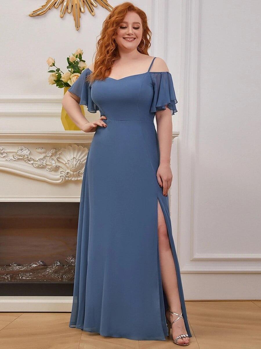 من أي وقت مضى جميلة رداء دي سهرة عادي بلون حجم كبير بالجملة الشيفون فستان وصيفة الشرف أنيقة باري فساتين Vestidos دي غالا