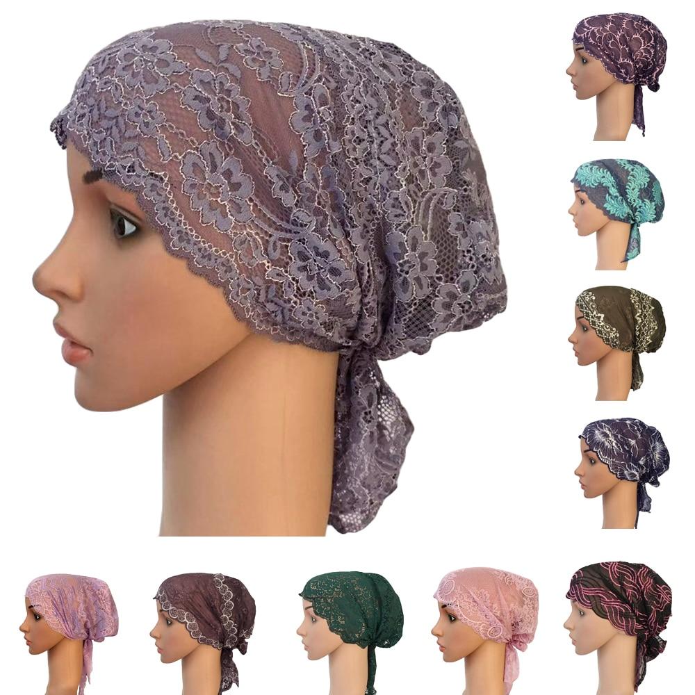 Mujer turbante musulmán gorro interior árabe encaje sombrero islámico quimio sombrero envuelve la cubierta Beanie flor gorro para la caída del pelo suave gorro de cola larga